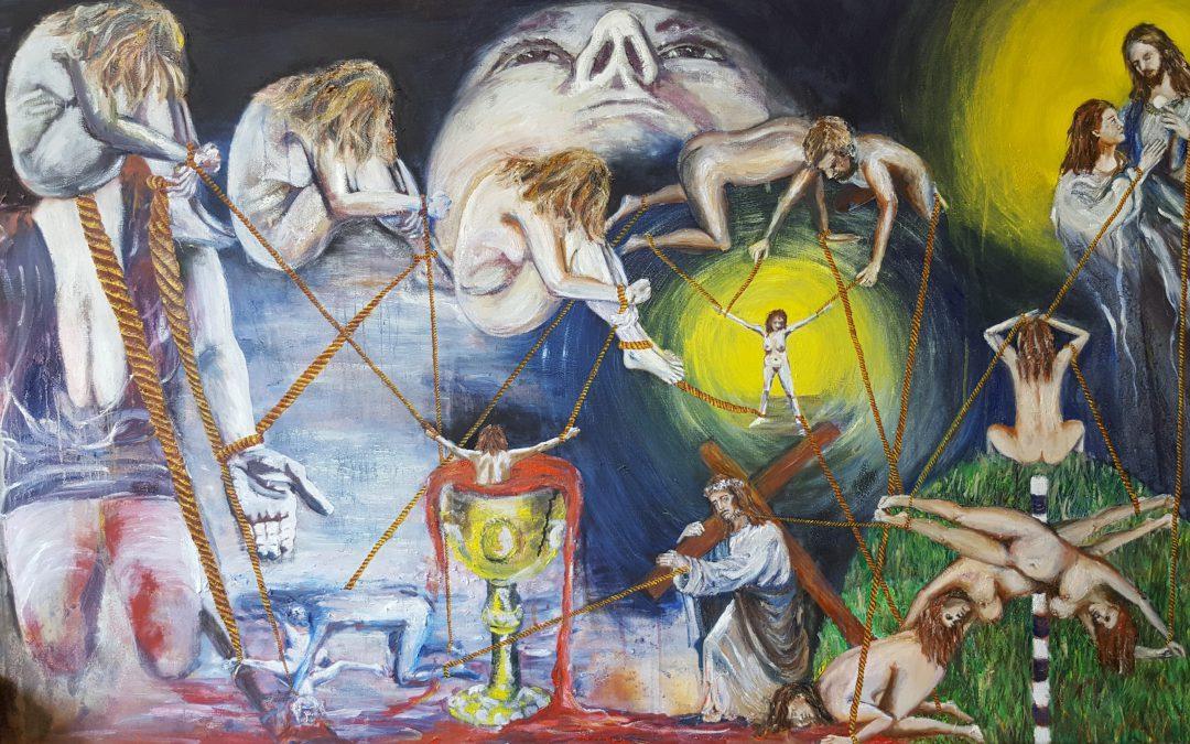 Met dit olieverfschilderij genaamd Mijn passie geef ik in één werk een vertaling aan de 14 Bijbelse kruiswegstaties